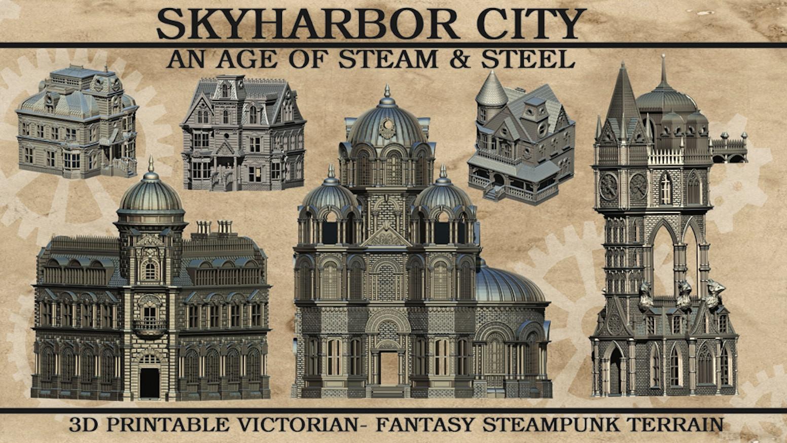 3D printable tabletop STL terrain pieces for Victorian era and Steampunk fantasy games.