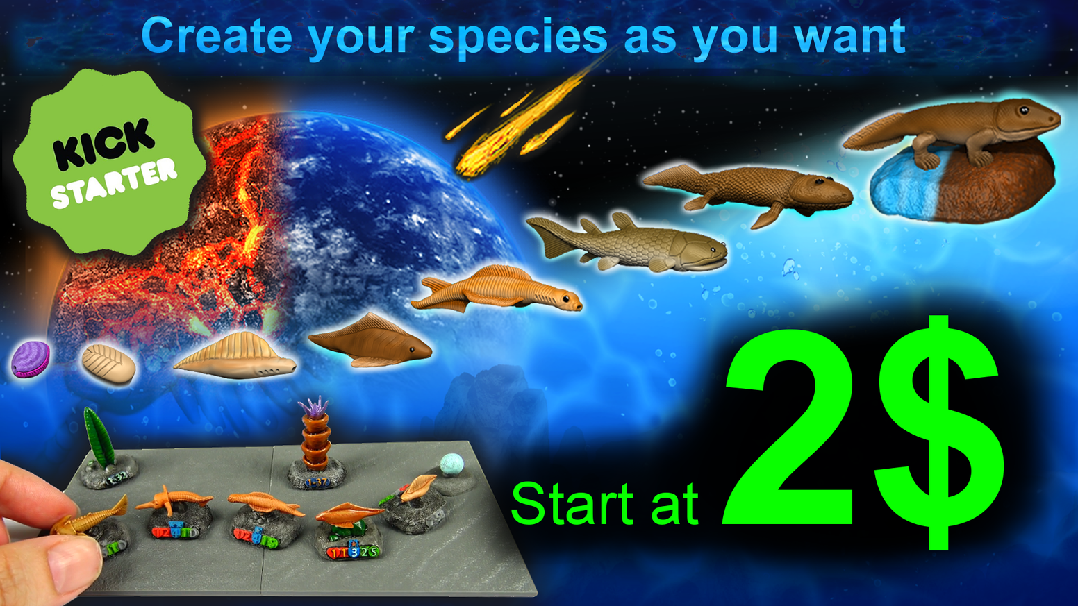 """in this game, you are an origin species on earth. You begin 4.6 billion years ago, and play through 5 eras, with 268 miniatures."""