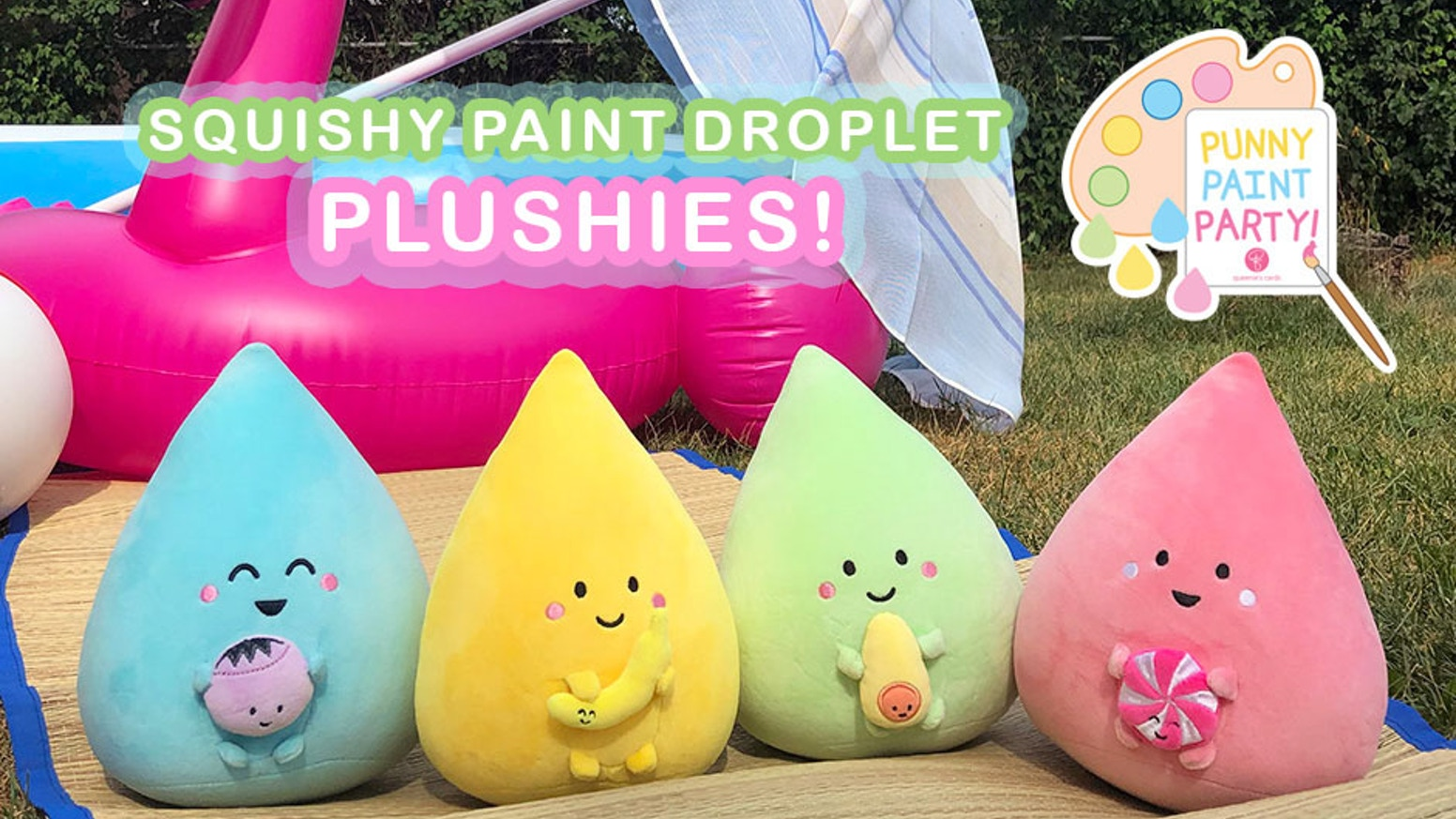 The paint droplet plush toys (with their fave foods) are ready to come to life!