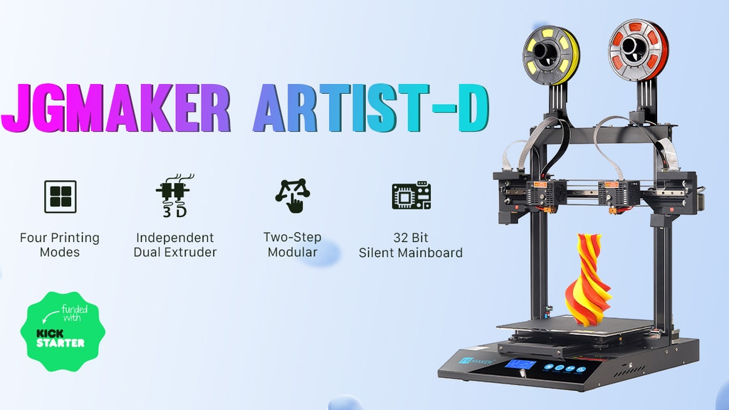 JGMaker Artist-D Dual Extruder Independent 3D Printer