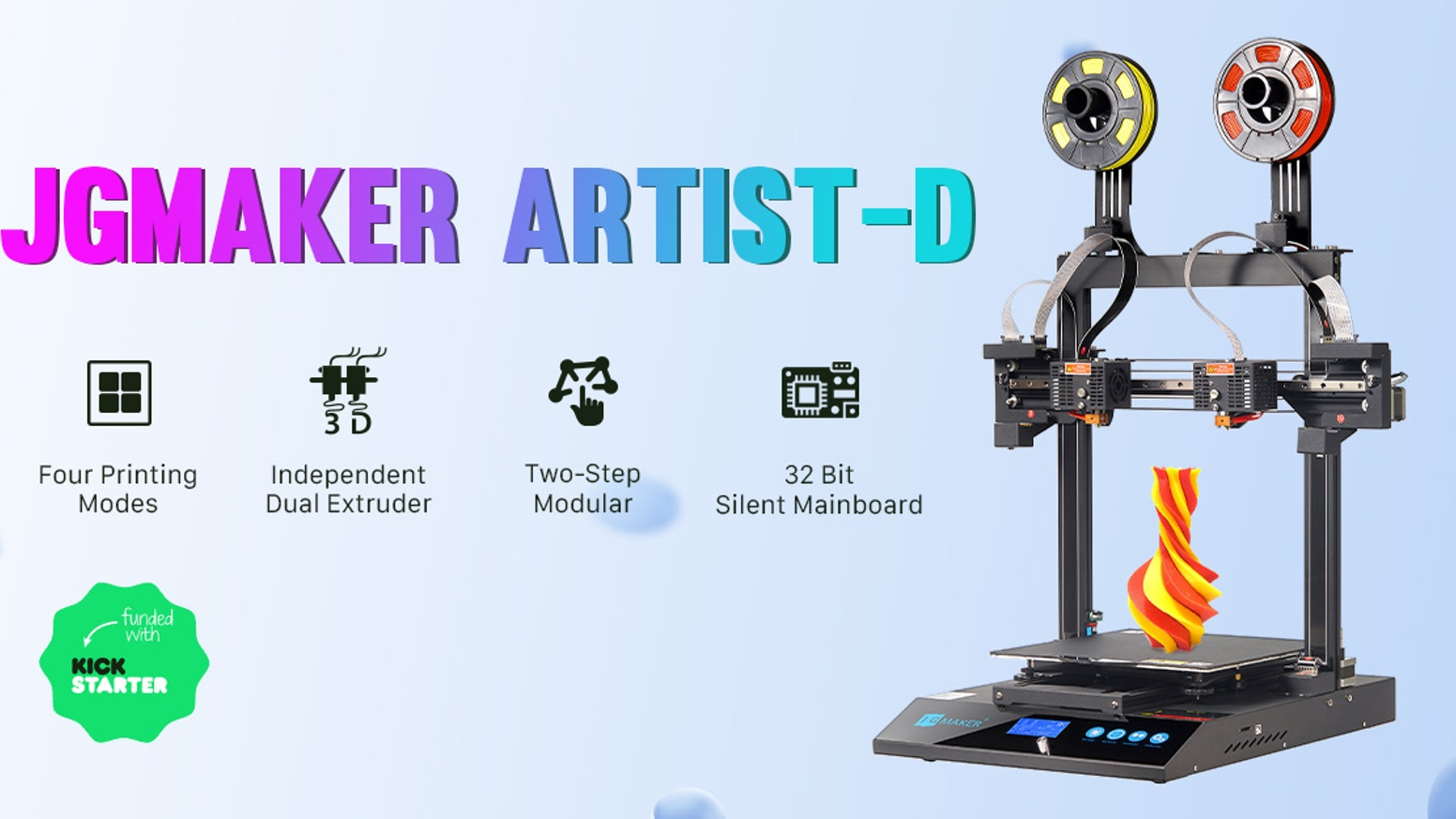 Dual extruder Independent direct drive 3D printing featuring great performance and robust construction.