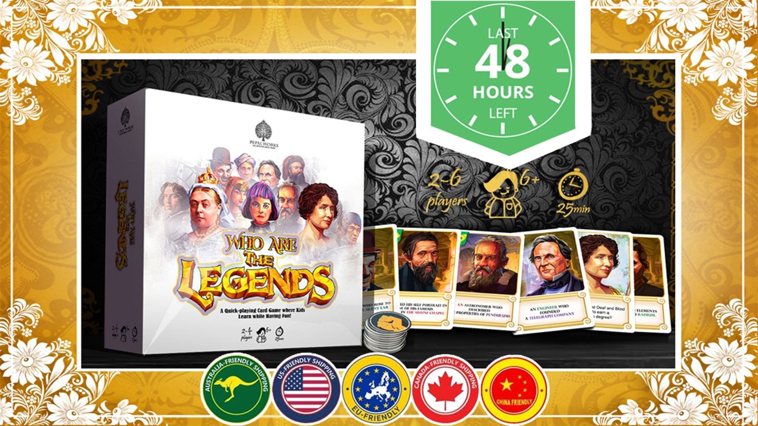 Who are the Legends? is a fast-paced, competitive, educational card game not just for kids but for all ages.