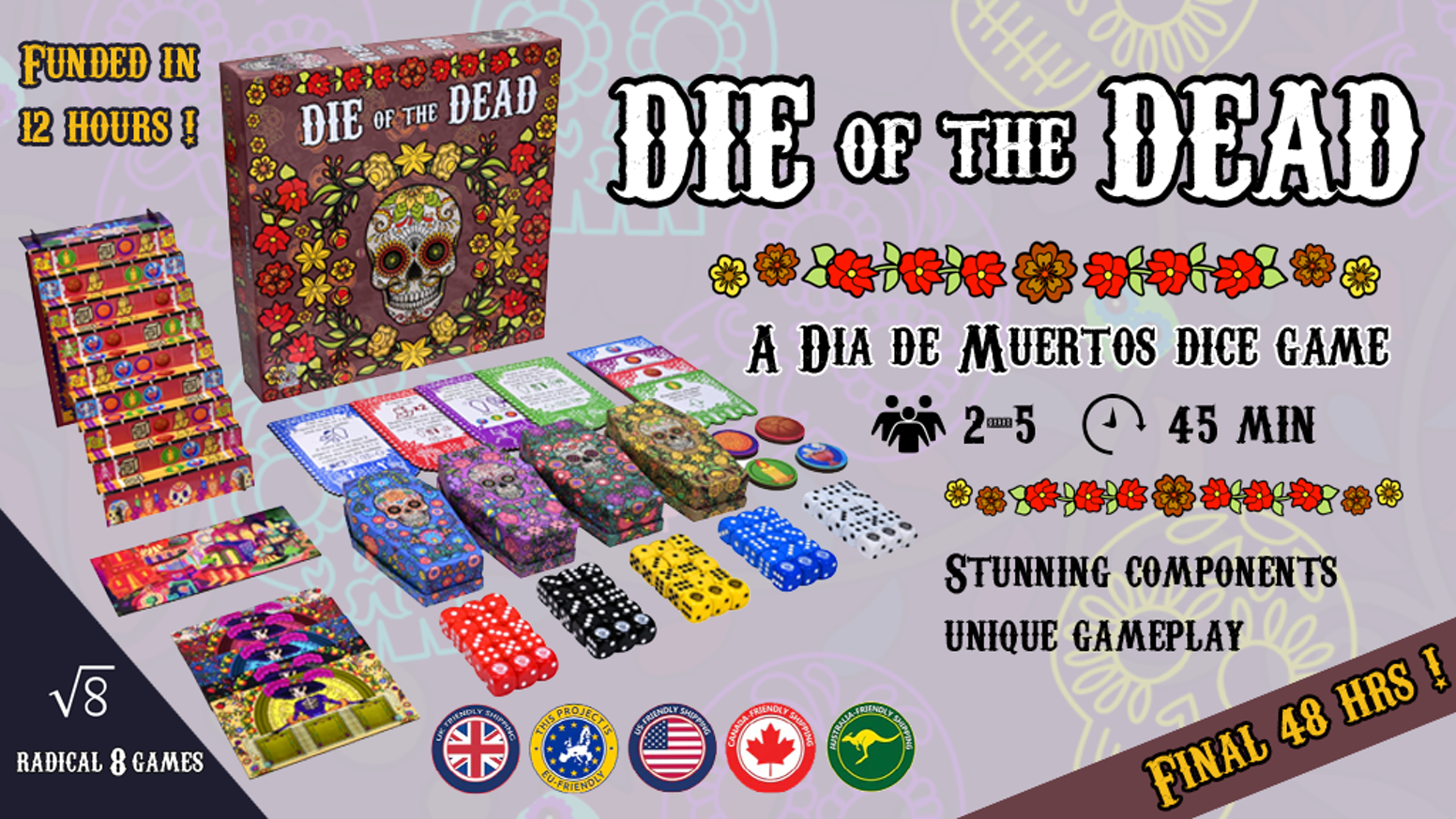 Guide souls back to the land of the living in this Día de Muertos themed dice game featuring beautiful components and unique gameplay.