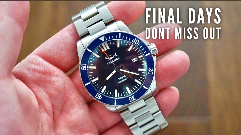 Oceanica Stingray Automatic Dive Watch - Tough 200M Watch project video thumbnail