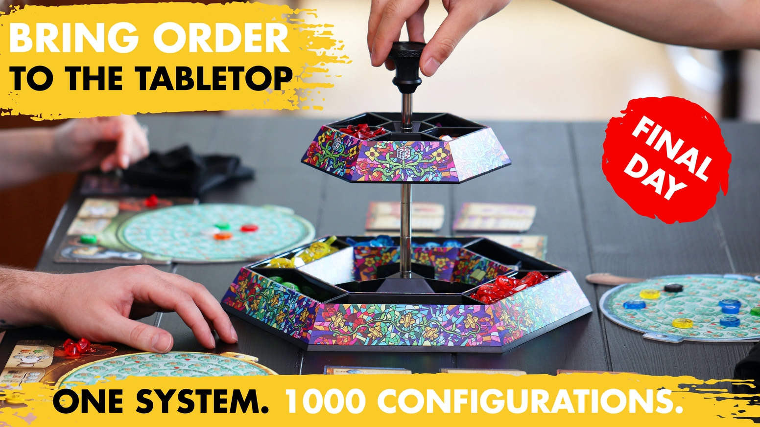 Save table space   Infinite configurations   Collectible art plates by tabletop artists   Converts to dice tray    Compact travel mode.