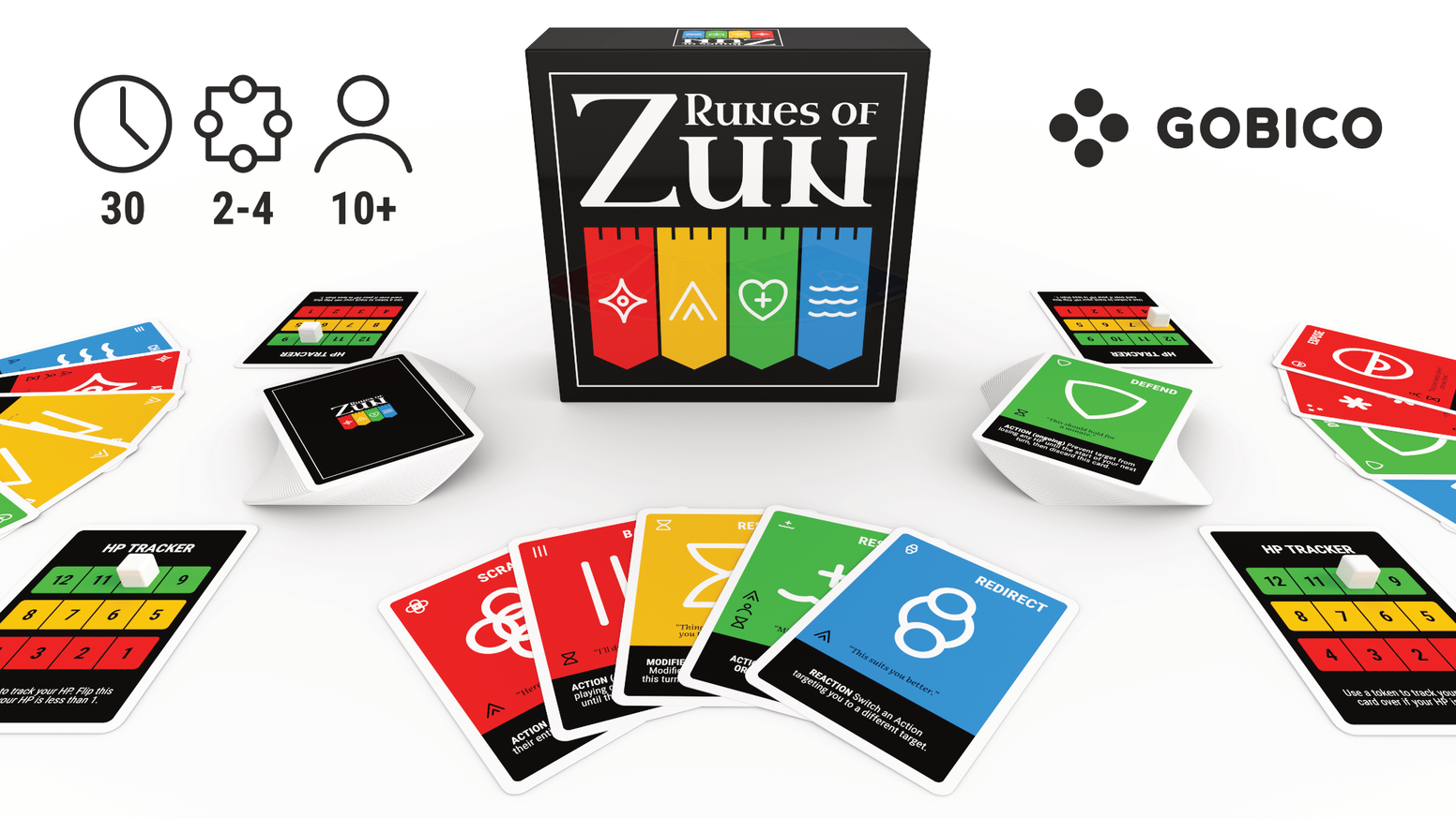 "What if ""Magic the Gathering"" and ""Uno"" had a baby? Runes of Zun is a game of tricky traps, clever combos, and sudden betrayals for 2-4 players. Available November."