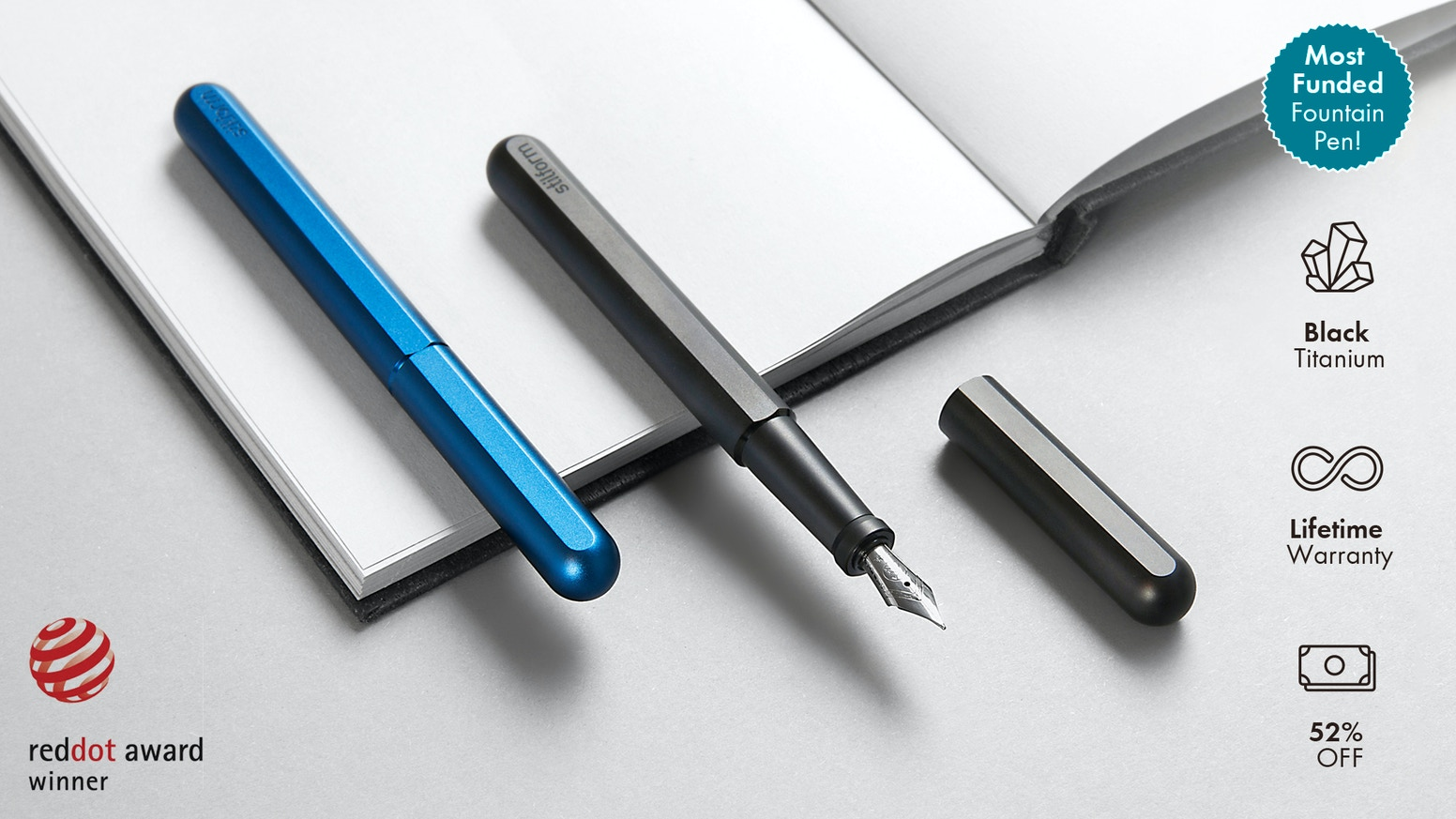 The award-winning Stilform Fountain Pen with a unique self-aligning cap and a new mechanism. Now in DLC coated titanium!