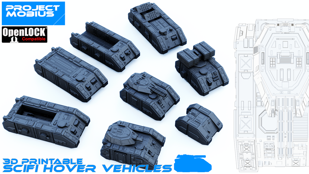 Project image for 3D printable scifi hover vehicles [OpenLOCK]