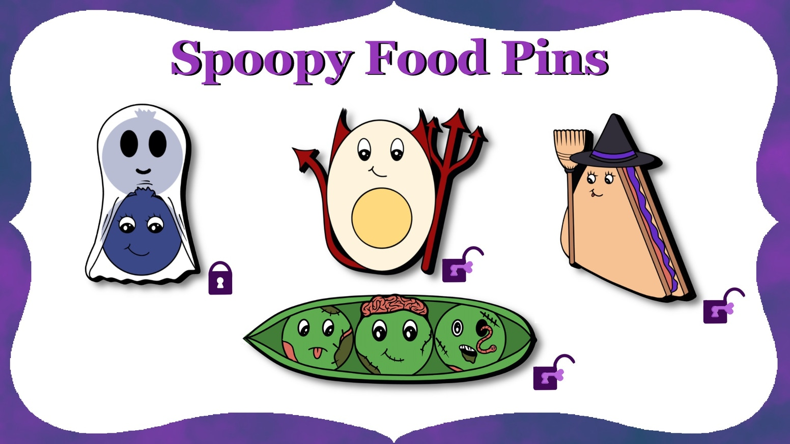 A soft enamel pin set with a punny cute Spooky (Spoopy) Halloween food theme.