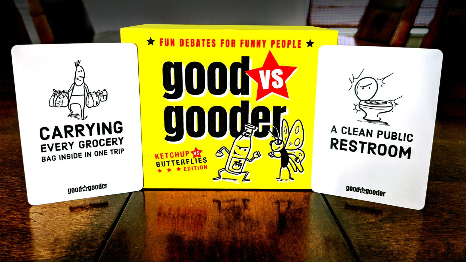 Fun debates for funny people—a family-friendly party game celebrating the gooder things in life