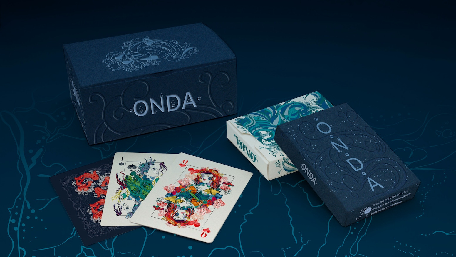 Explore the abyssal depths of a mythical ocean with ONDA playing cards. Shipped from USA and EU