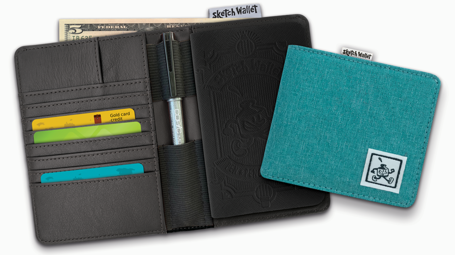 It's a wallet with a sketchbook inside - Now with new features!