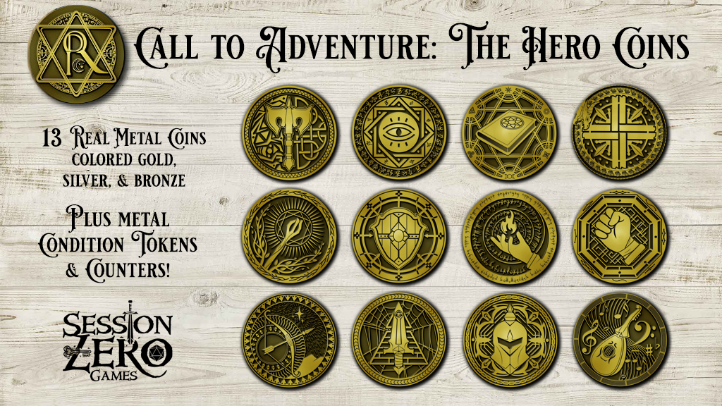 Real Metal Hero Coins for all 12 Classes in 5e along with Metal Condition and Counter Tokens - good for any tabletop role playing game!