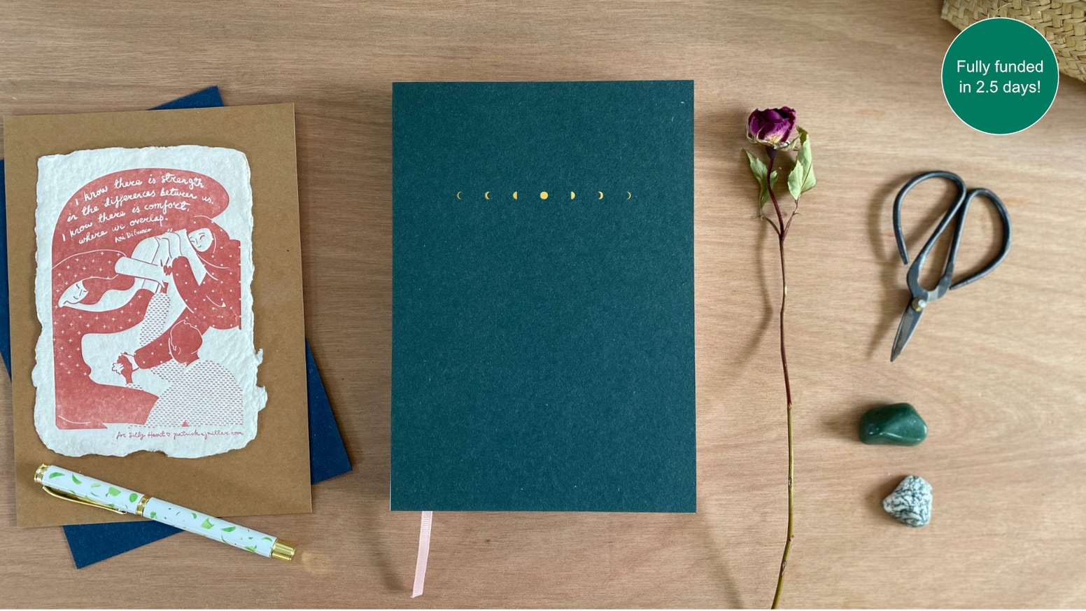 A three month productivity planner and wellness journal for people working in flow with natural cycles - menstrual, lunar, seasonal.