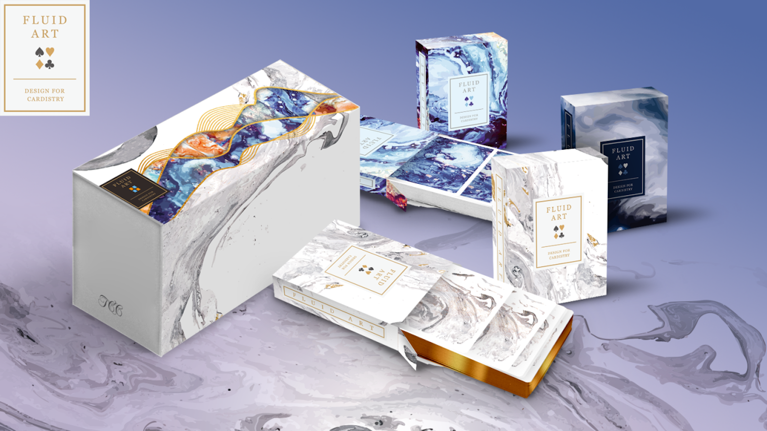 Packs flowing & swirling colors into a deck of playing cards.