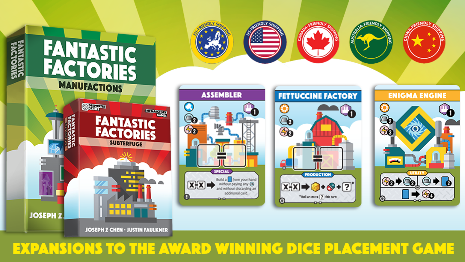Put on your hard hats! The award winning card game is expanding! Which faction will you align with to establish market dominance?