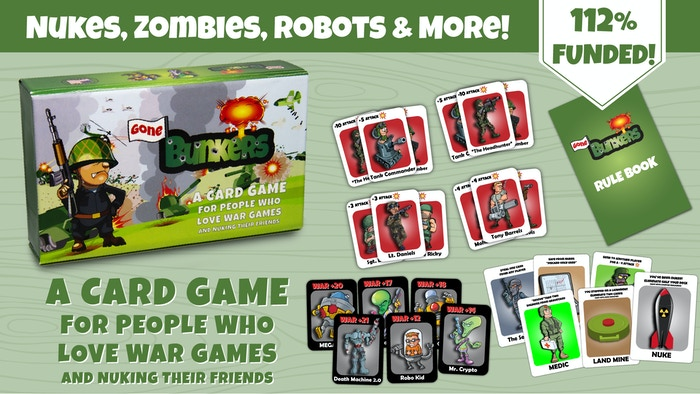 A card game for people who love war games and nuking their friends. Did we mention you are also going against robots & aliens?