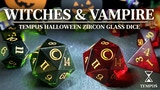 Tempus Halloween Special - Witch & Vampire Zircon Glass Dice thumbnail