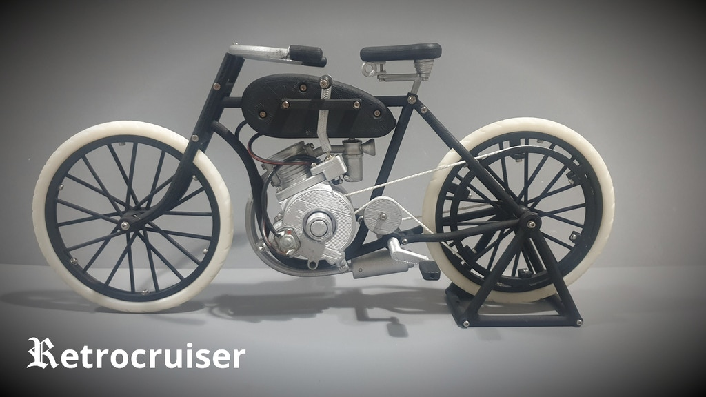 3D printed Retrocruiser ...build your own motorbike model project video thumbnail