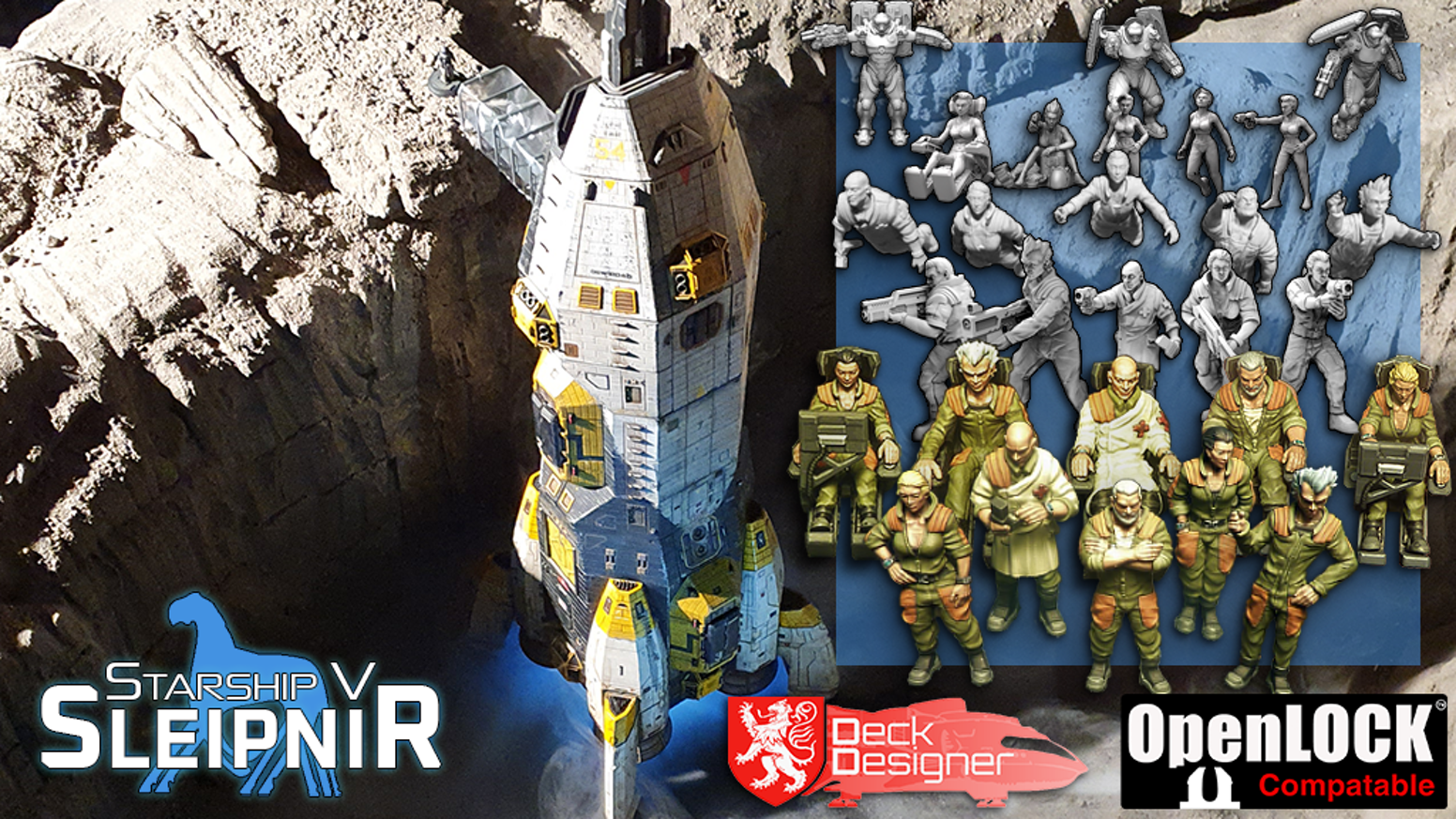 A highly detailed 28-mm-scale 3d-printable spaceship, crew miniatures and print planning tools for your home 3D printer