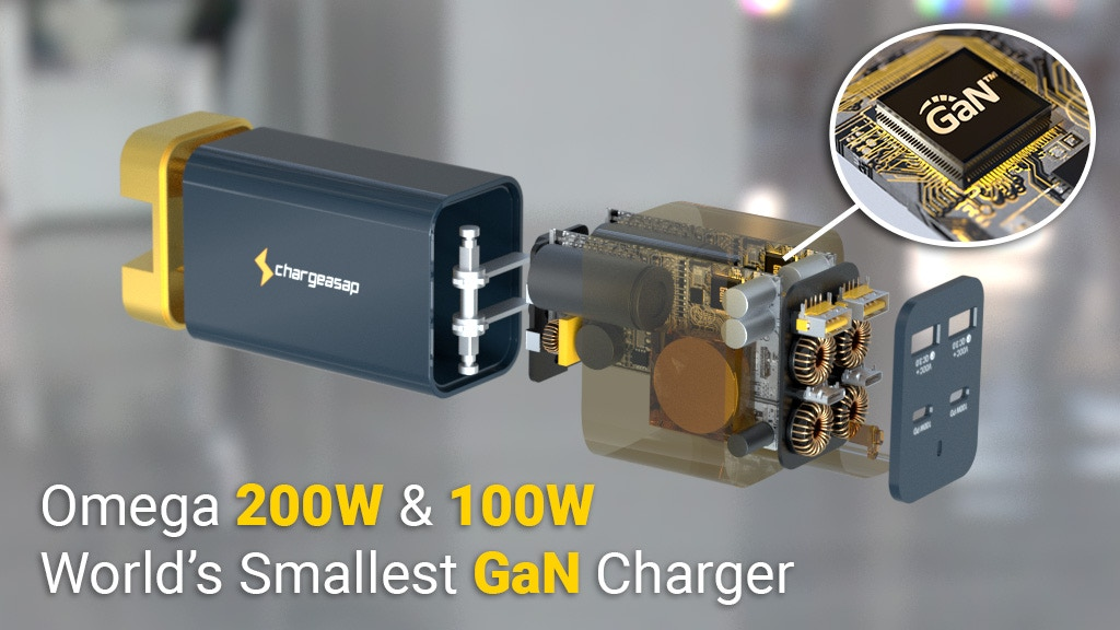 Omega: Worlds First & Smallest 200W & 100W GaN USB-C Charger project video thumbnail