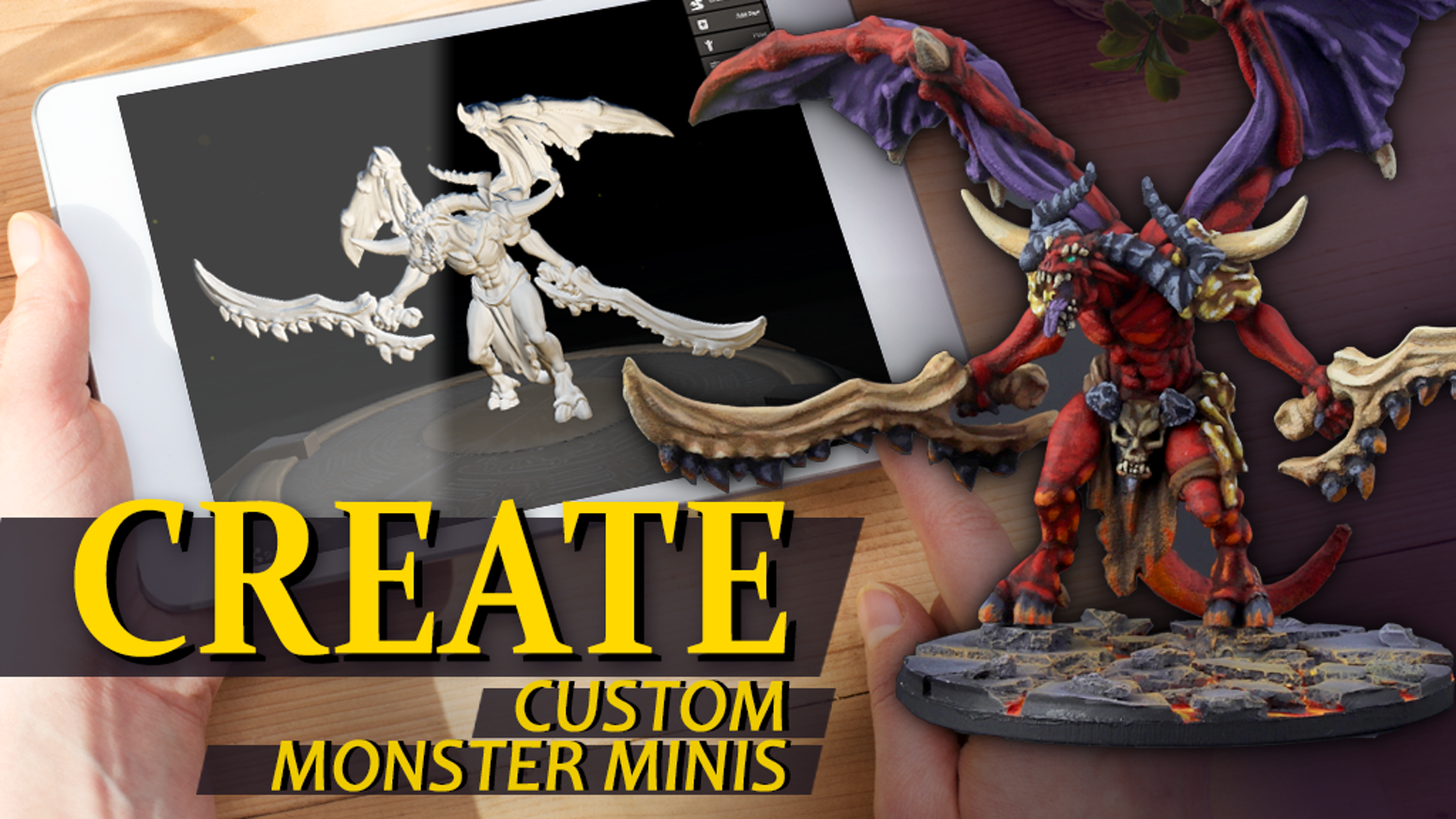 Create custom monster miniatures for D&D and tabletop RPGs. Shipped or 3D printed!