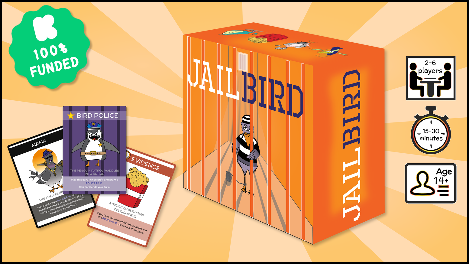 A card game about criminal birds. Collect cards. Frame your friends. Lock them up in jail.