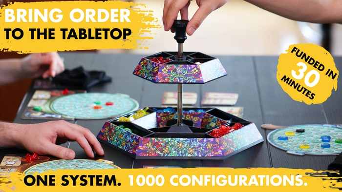 Save table space | Infinite configurations | Collectible art plates by tabletop artists | Converts to dice tray |  Compact travel mode.