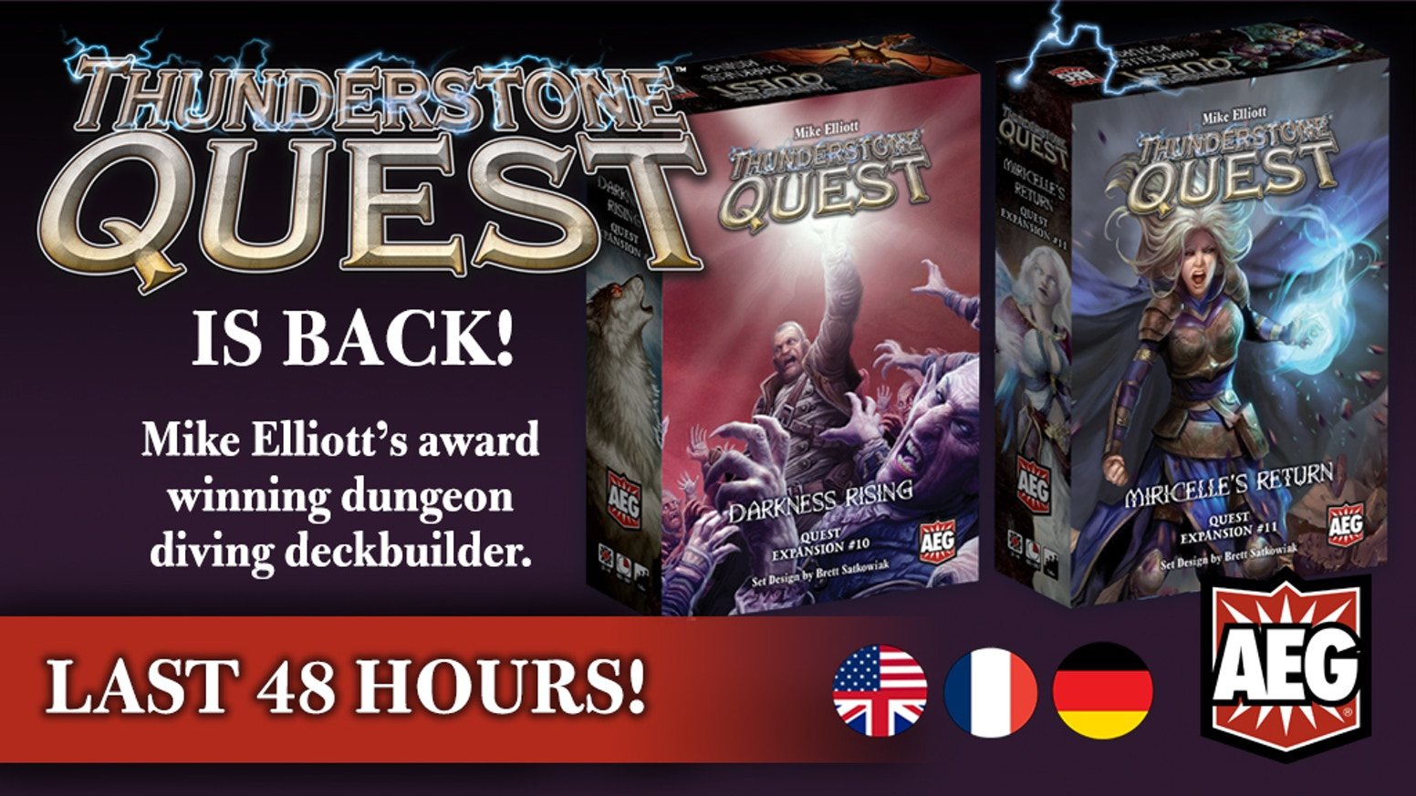 Two amazing new Quests for AEG's award winning deck builder, Thunderstone Quest! Vampires, Scions, and the epic return of Miricelle!