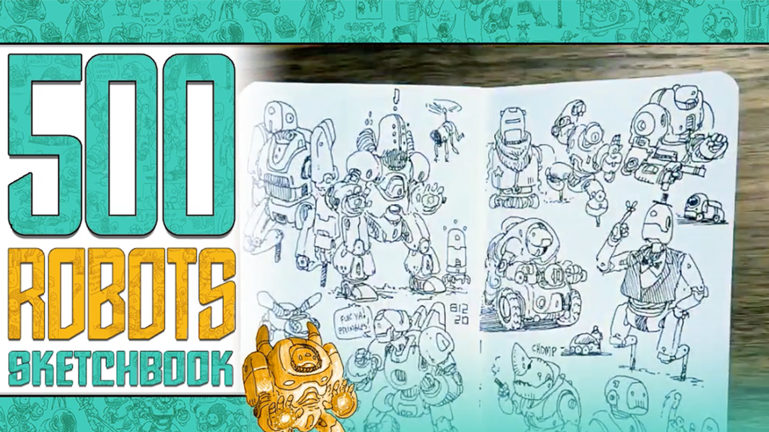 A 52-page collection of robot sketches, mini-comics, and other sci-fi stuff with in-depth annotations!