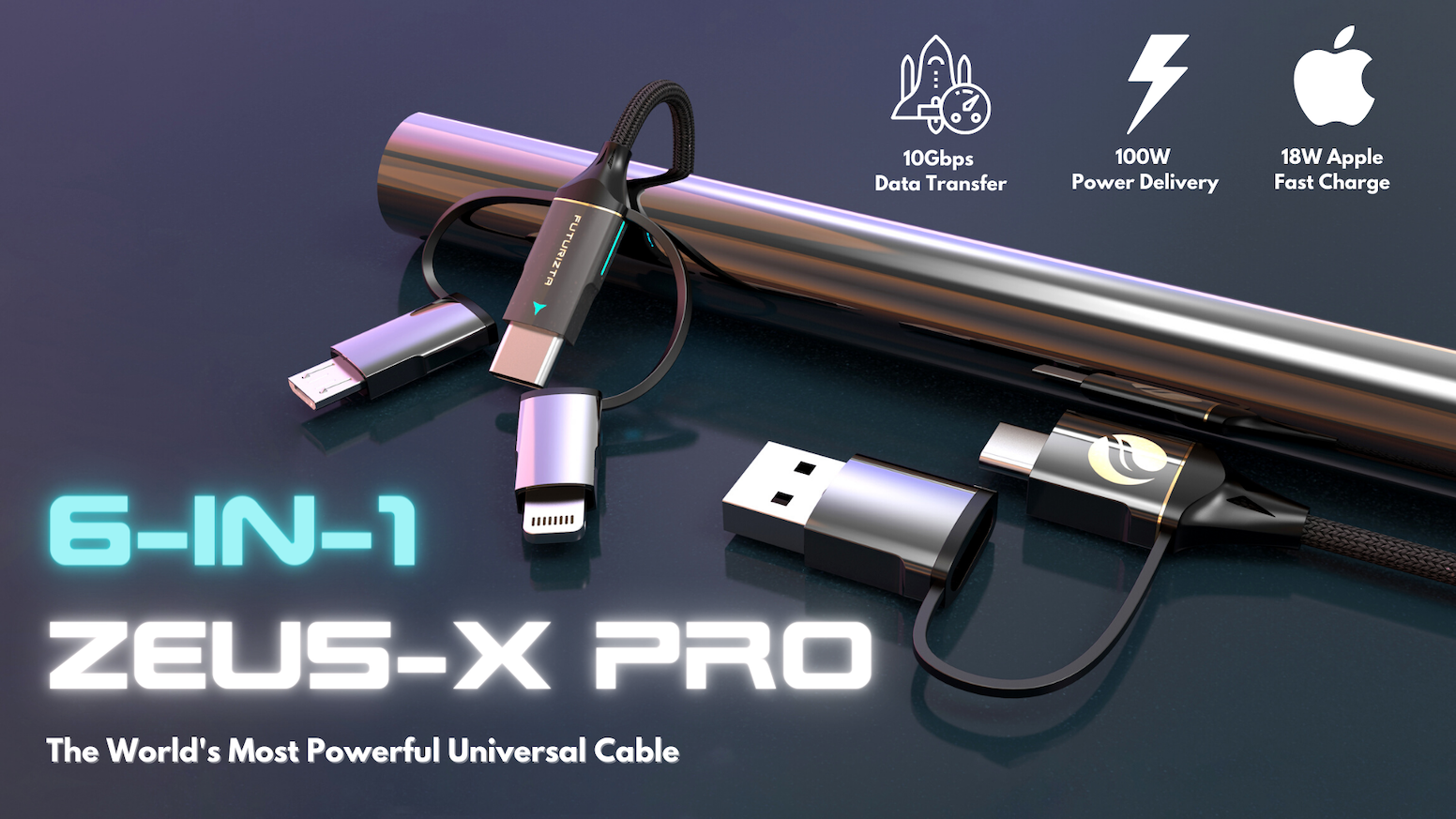 6-in-1 functions to charge all devices;100W Power Delivery, 10Gbps speed, 4k Video Transmit, and more! Save up to $200 with Zeus-X Pro!