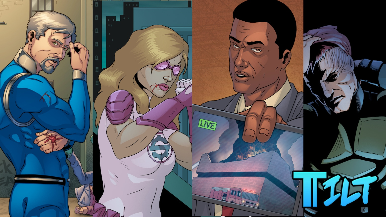 Collect issues 1-3 of Tilt, a 4th wall breaking superhero comic by Catalyst Comics Studio