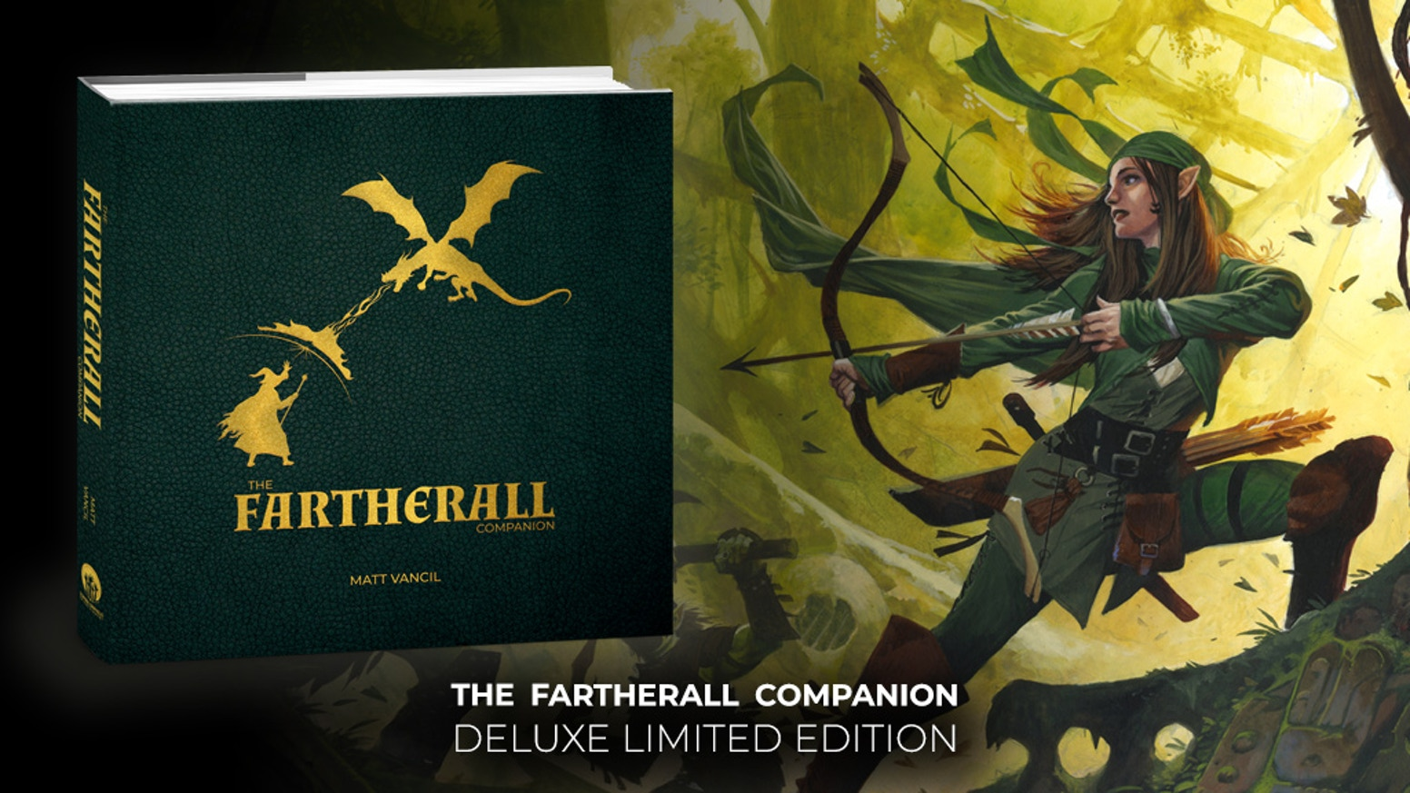 A deluxe, full color edition of The Fartherall Companion, a 460-page campaign setting for the world of JourneyQuest and The Gamers