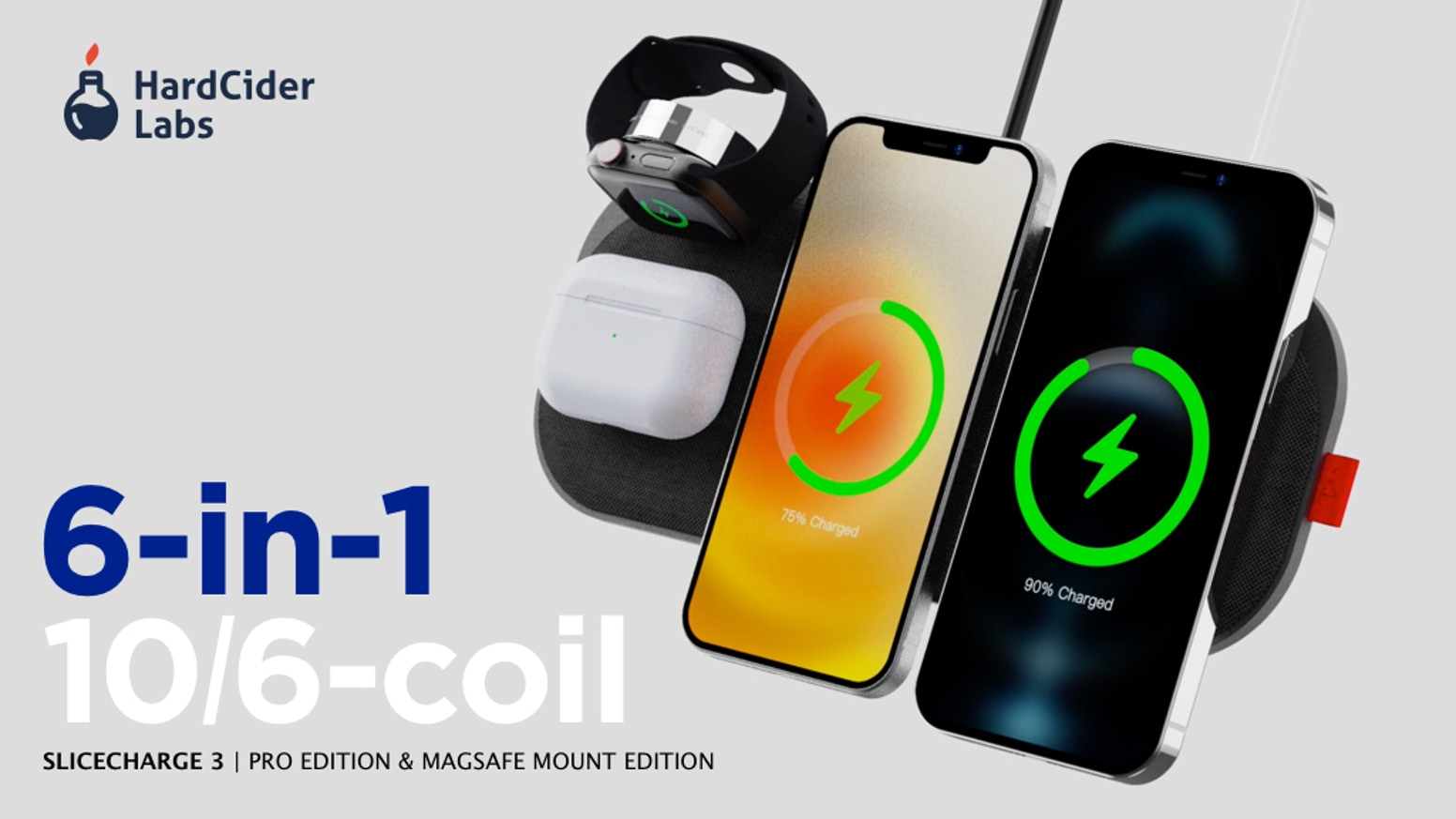Fastest 6-in-1, 10-coil Wireless Charging Station | Built-in 3rd-Party MFi-Certified Apple Watch Charger | 65W USB-C PD Power Supply