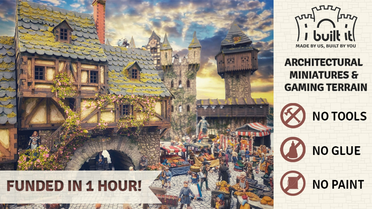 Build your own medieval castles and villages, and attack them with real working siege engines! No glue, tools, or paint required!