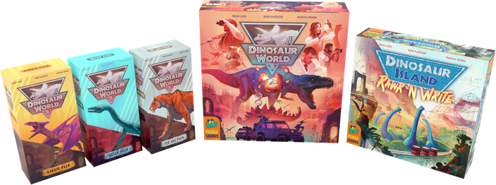 Dinosaur World and Dinosaur Island: Rawr 'n Write are two stand-alone games set in the Dinosaur Island Universe!