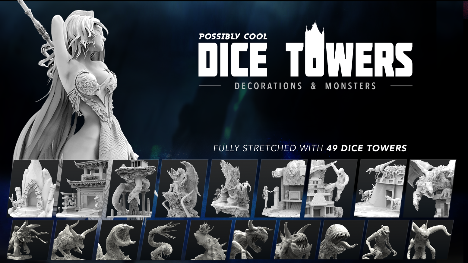Dice Towers! Incredibly detailed Dice Towers and more than 400 decoration items and monster miniatures in 3D printable .STL.