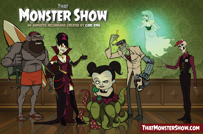 Animated retro-60s monster comedy cartoon about 5 monsters from another dimension, banished to Florida.