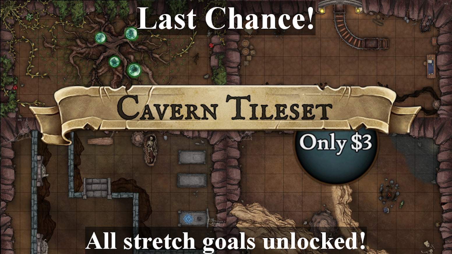 85 battle map tiles! TY Backers! Craft cavern settings for your favorite roleplaying game. Usable with roll20, VTT, ttrpg, and dnd!