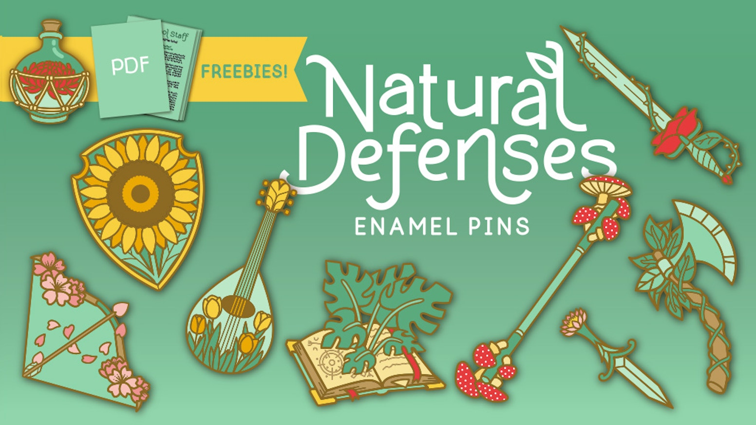 Magical 5th Edition Enamel Pins inspired by Nature