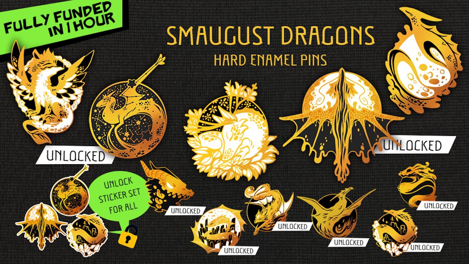 Smaugust Dragon Enamel Pin collection 2020