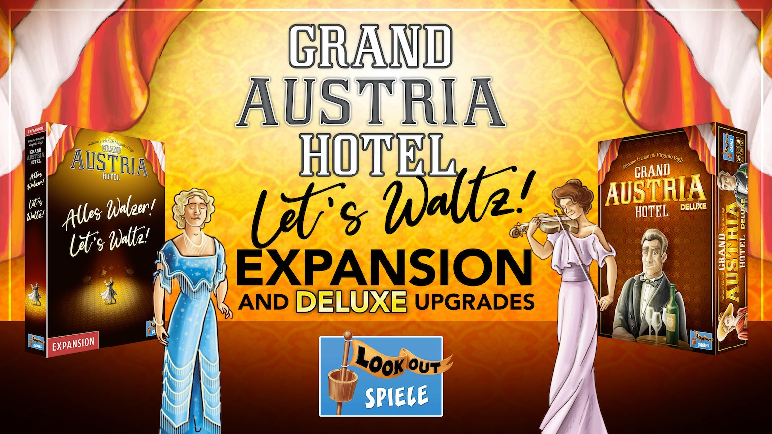 The first big expansion & deluxe upgrades for the award-winning board game Grand Austria Hotel.