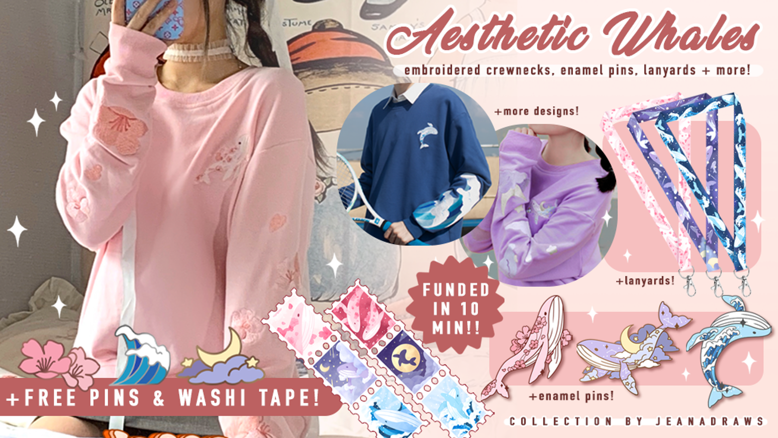 A collection of embroidered crewneck sweatshirts, lanyards, enamel pins, stickers and stamp style washi tape! Missed the Kickstarter? You can still preorder at the discounted KS price below!