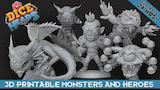Dice Heads: Fantasy RPG Printable Miniature Bundle thumbnail