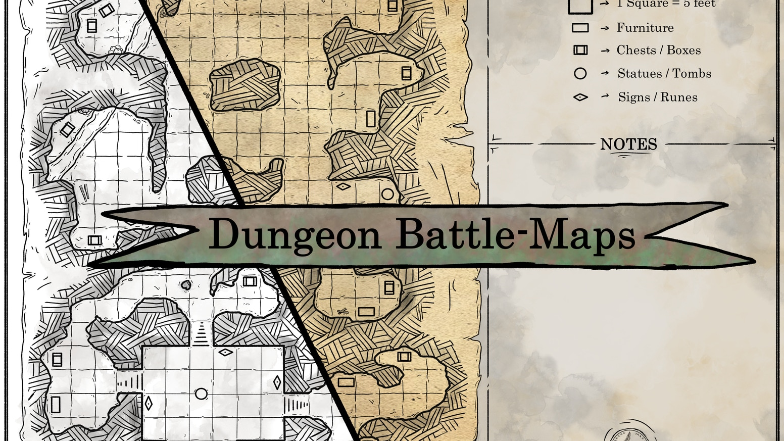10+ hand drawn fantasy Dungeon Battle-Maps for your RPG