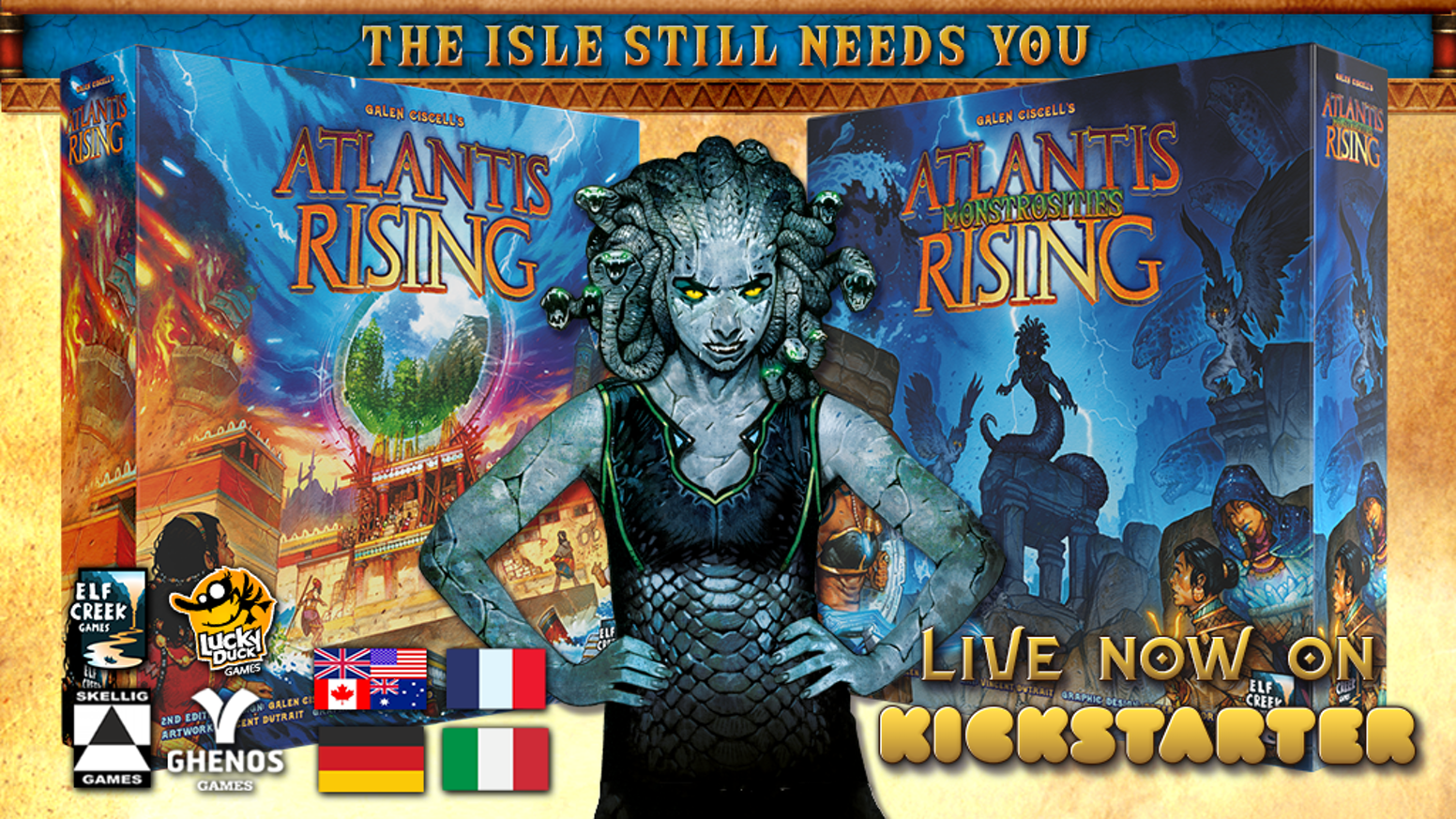 An all new big box expansion for the acclaimed cooperative game, Atlantis Rising, with editions in English, French, German, and Italian