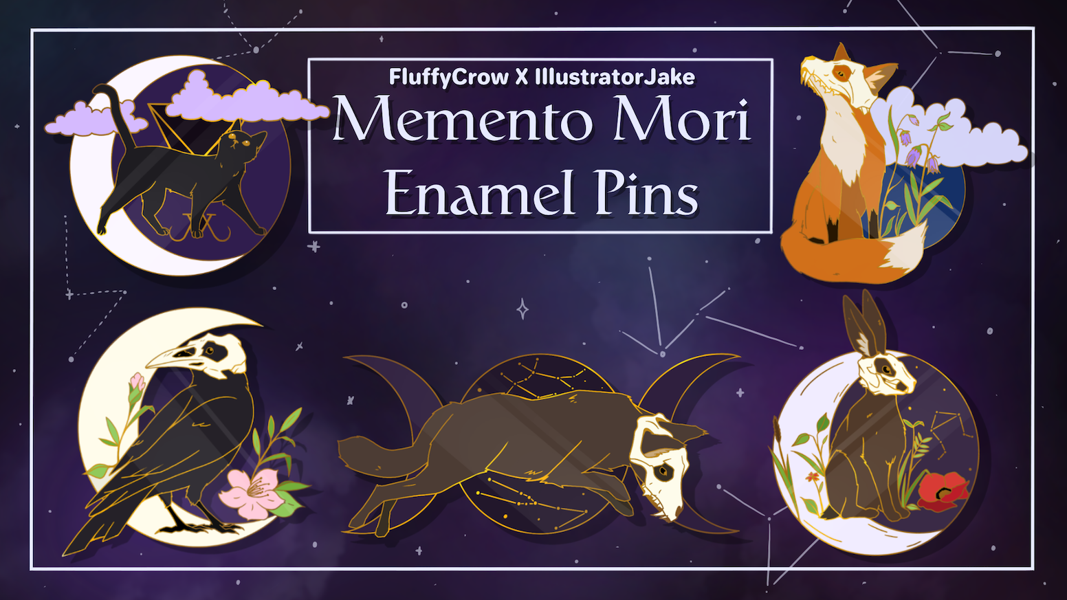 A collection of cute, witchy, animal based hard-enamel pins!