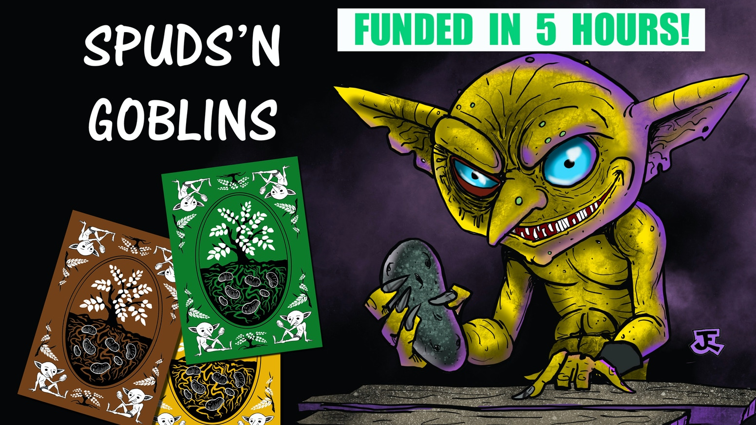 A fast-paced card game filled with hand-drawn artwork.  Help your goblins frantically gather the most potatoes before winter hits.