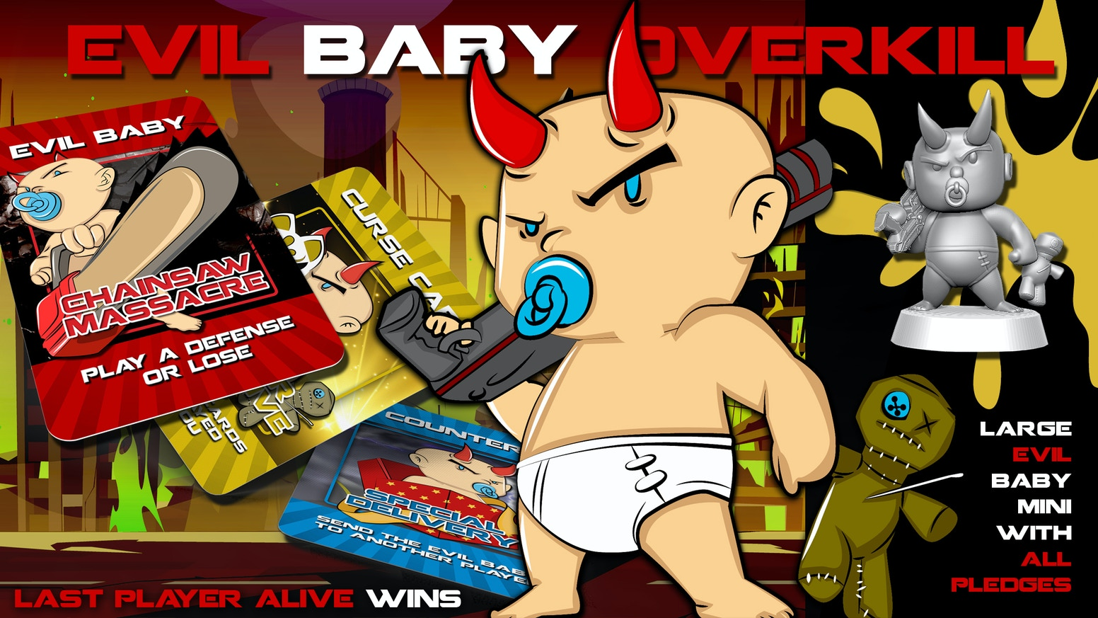 Stack defenses & survive Evil Baby attacks to be the last player alive & win the game.