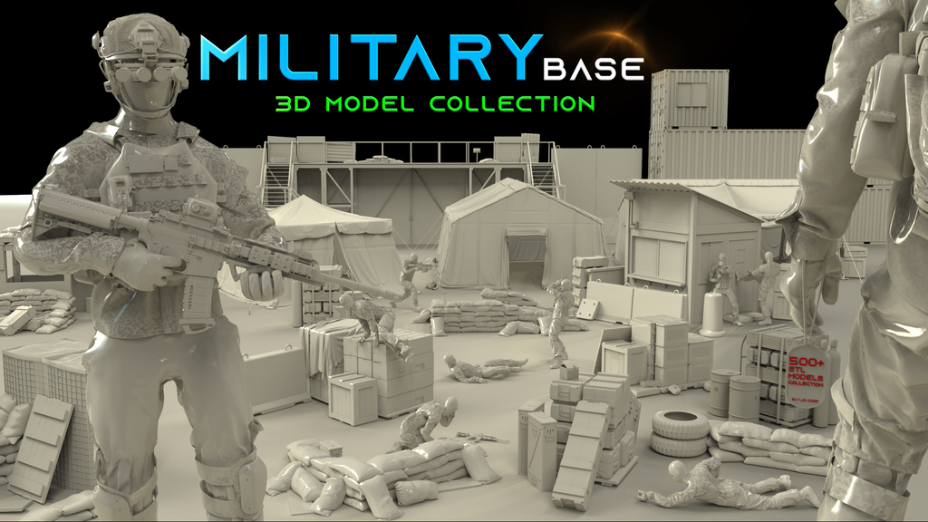 Military Base - 3D models for 3D printer project video thumbnail